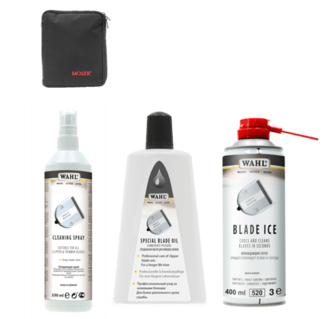 Pochette MOSER, Blade Ice, huile de nettoyage, spray nettoyant, brosse de nettoyage et serviette.